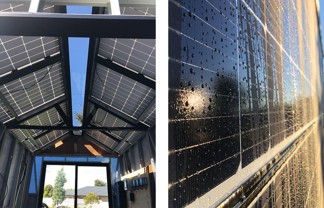 Tiny House: Solar Ark - Skylight and Closeup of panels